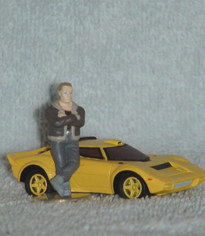 Get a load of this little combo; Batou and his yellow Lancia Stratos.