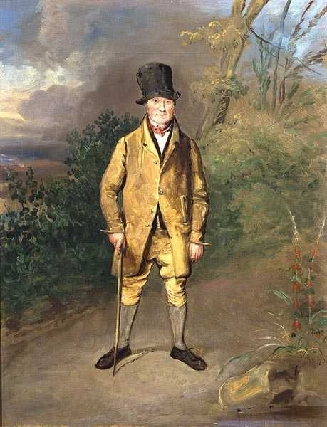 Gardener at Bramham Park by George Garrard, 1822. A fascinating subject matter!  Lovely to see an image of a working-class person, especially one in such an excellent hat!