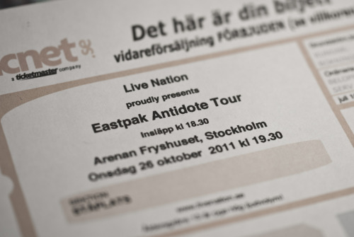Eastpak Antidote Tour, fuck yea. The Ghost Inside, A Day To Remember, August Burns Red, Living With Lions, fuck yea.
