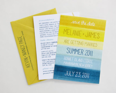 Love the tranquility of this watercolor sunset wedding invitation by Scouts Honor Co.