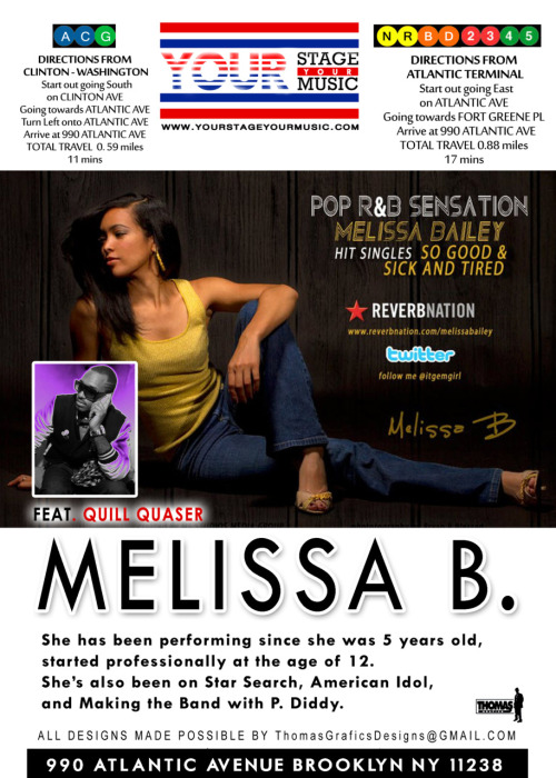 my friends melissa and quill quasar will be performing tomorrow in fort greene, brooklyn. feel free to come out and support up and coming musical talent. the event is free (yay!) and i will be dressing melissa so it should be a fun night. ;) to hear their music:  www.facebook.com/MelissaBmusic www.facebook.com/QuillQuasar