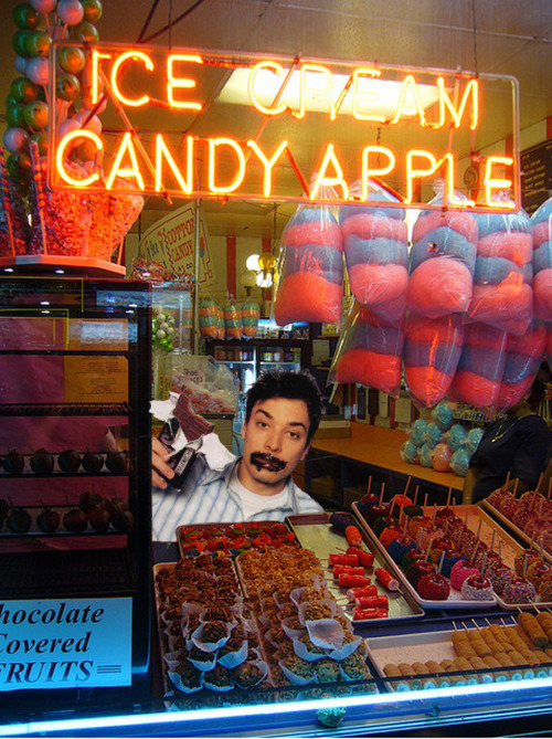 Jimmy Fallon Hides In a Candy Store Until The Employees Have Left and Then Goes to Town :> hehe  (Photo from Flickr, Jimmy added by me of course. But we can pretend he was really there.)