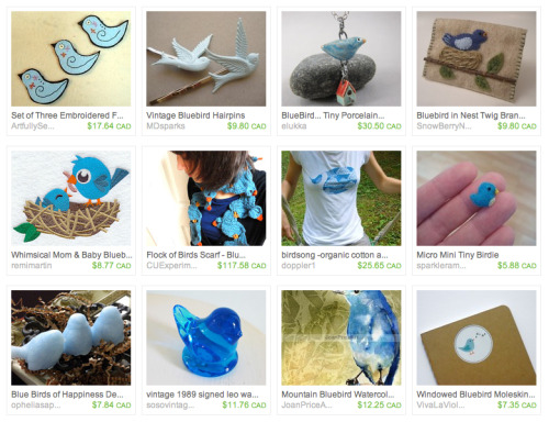 My Flock of Birds scarf was included in this very cute Bluebird treasury. -Cory U
