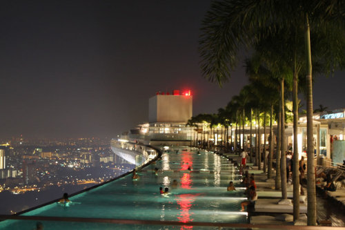 pool on the 57th floor of the Marina Bay Sands Casino, Singapore