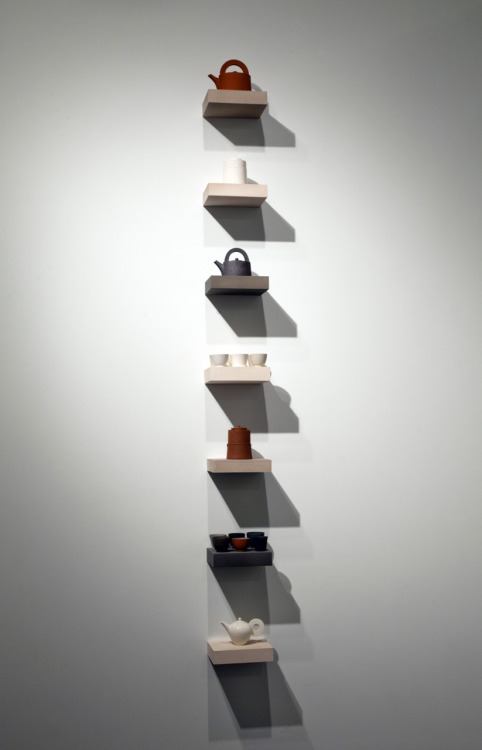 Overthrown: Julian Stair, Volumes Within Voids, 2010–11. Porcelain, Etruria Marl, Keuper Marl, stoneware, basalt, and vitreous slip and glaze. Photo by Jeff Wells.