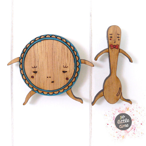 Delightful dish and spoon brooches from solittletimeco.