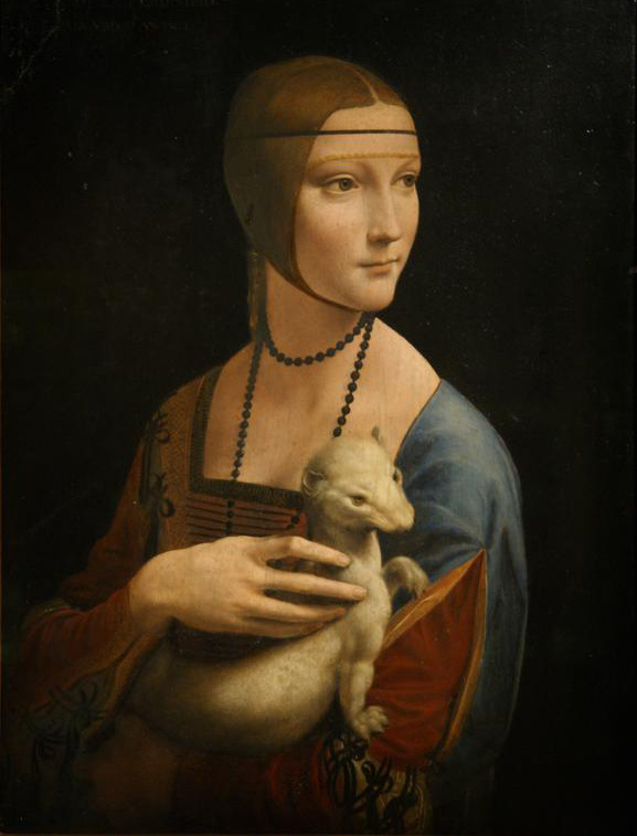 Lady with an Ermine (1489-1490), Oil on wood panel, Czartoryski Museum, Kraków | artwork by Leonardo da Vinci