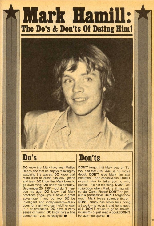"laughingsquid:  Mark Hamill: The Do's & Don't of Dating Him  Turns out I'm, like, the perfect girl for Mark Hamill. (ETA: Minus the bit about ""doing sports."")"