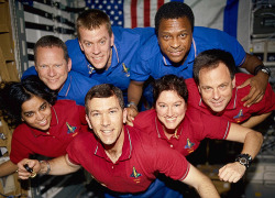 STS-107: Last Picture of Space Shuttle Columbia's Crew  A picture of the crew of Columbia during mission STS-107, from a roll of undeveloped film found in the shuttle's debris, 2003. © Copyright 2003 NASA/Associated Press. All rights reserved.