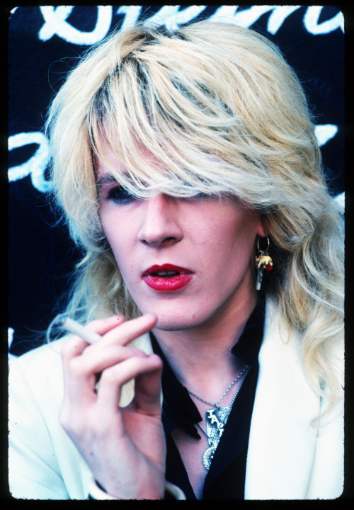 David Sylvian from Japan looks a bit like Marlene Dietrich with a cigarette in this photo from 1979. I shot it right on the Sunset Strip right next door to the old Riot House without any glam squads. Shooting concerts was a bore and a job for me. I aways wanted to get the private photo sessions with the cool British bands.  Photo by Brad Elterman