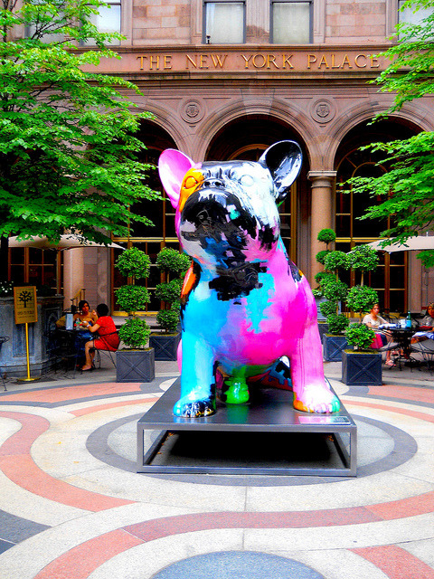 frenchiesrule:  hedda-hopper:French bulldog statue at The New York Palace Hotel, NYC This and Laduree opening on Madison means a trip to NYC may be sooner than I thought.