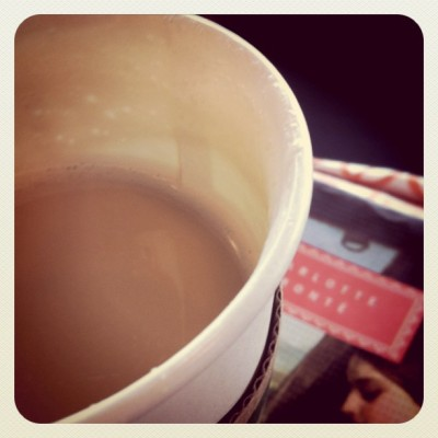 Chai latte and Jane Eyre. #goodmorning #starbucks #chailatte #chai #skimmilk #handsets #summerreading #Charlottebronte (Taken with instagram)