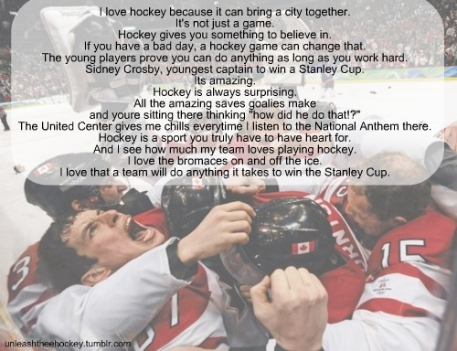 To me hockey means… Submitted by ilovethehawks