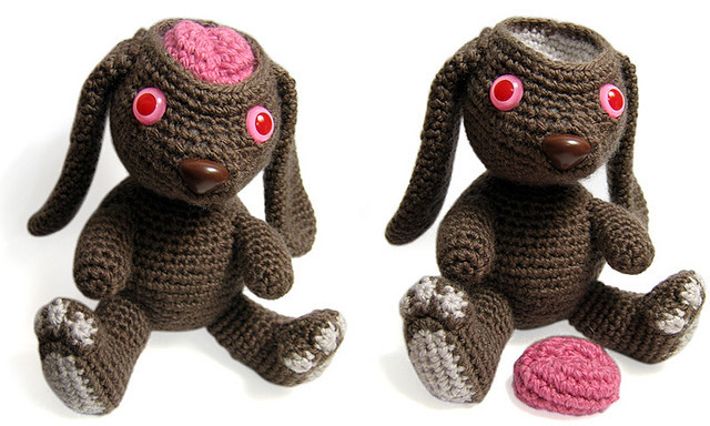 Test lab bunny by jellibat on Flickr. looking through old creations trying to get inspired again. here's a bunny I made a few years ago, test lab bunny with removable brain.