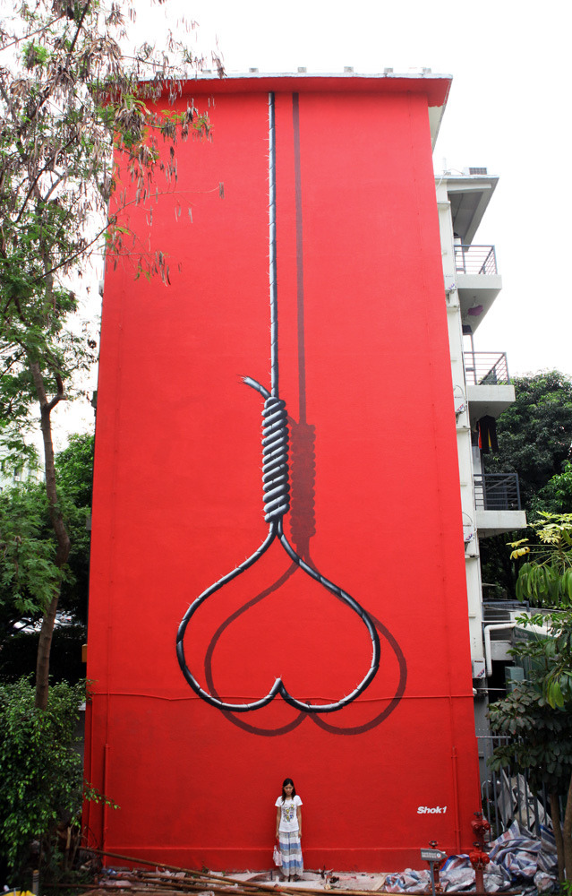 Heart Noose mural in China via SHOK-1 Not sure exactly where it is, but according to who took this photo, its going to be removed next week :(