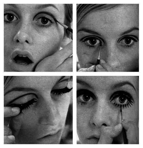 "sixtiesfollies:  Make-up lessons with Twiggy : dark eye-liner, a lot of mascara (do you say ""too much"" ?) and a gentle look. This girl was so refreshing."