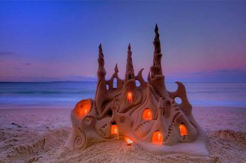 Ephemera.  sunsurfer:  Illuminated Sand Castle, Santa Cruz, California photo via sandman