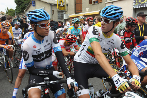Tour de France 2011 | Stage 15 (via Tom Danielson (L) Of USA And Team Mate Ramunas Navardauskas (R) Of Lithuania And Team Garmin-Cervelo Wait On The - Yahoo! Sports Photos)