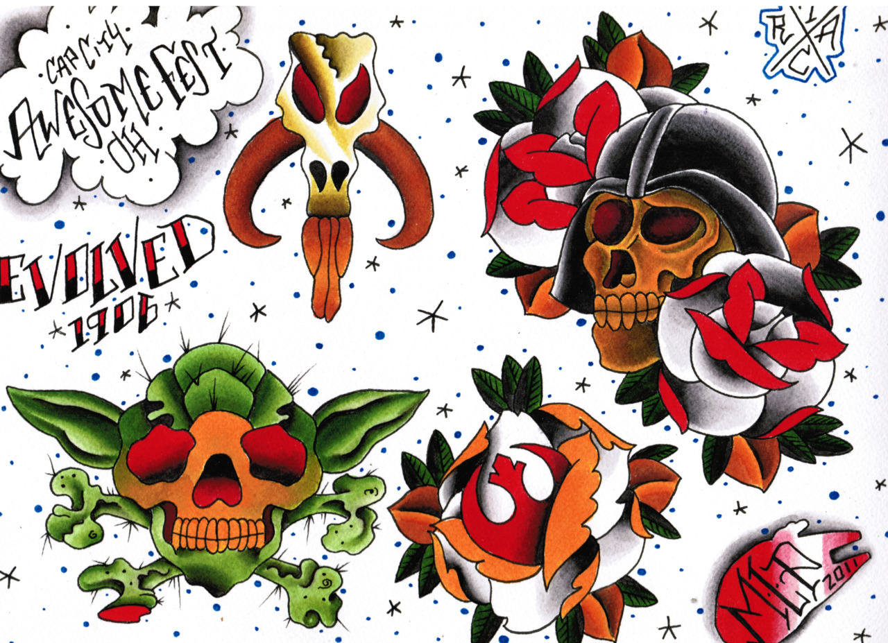 More tattoo flash from Evolved. Plus, we are excited to announce another cool bit of information. In addition to Evolved's resident artists, we are super stoked to announce that Luis Villagomez is here for the next two weeks and is confirmed to be tattooing at Awesomefest!   Not only is Luis a great tattoo artist, he is also a vintage Star Wars toys expert.You can check out some of his collection at the official Star Wars website - www.starwars.com/search/?query=luis+villagomez&x=0&y=0and at Rebel Scum - http://threads.rebelscum.com/showflat.php?Cat=&Number=3376530&page=&view=&sb=5&o=&fpart=1&vc=1Luis has also tattooed many, many Star Wars images and was featured in the book -The Force in The Flesh.