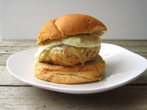 Spicy Pork and Chorizo Burgers with Green Chile Mayo