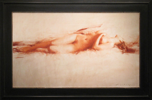 "Jeremy Lipking, ""Sepia Figure,"" Oil on Linen, 30"" x 50"""