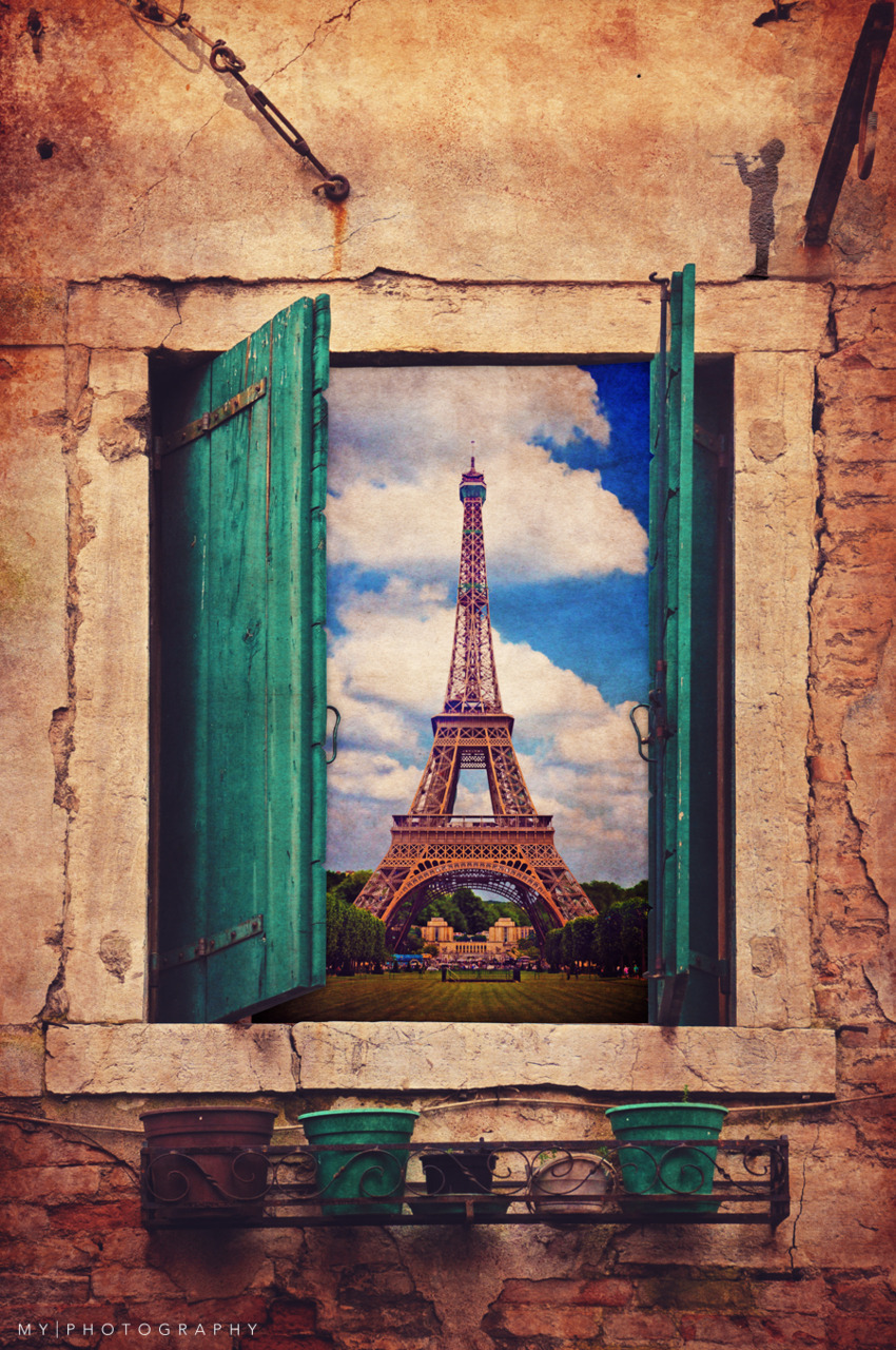 The World Outside Series: 1: The Eiffel TowerDon't you just wish the place you want to be in at the moment is just through a window? If only it was that easy. (I was inspired by a post I saw here on Tumblr of photo manipulations, so I thought I'd give it a try and use some of my photos to make them!)