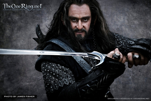(via The Hobbit Movie Dwarf Listing - First Look at Richard Armitage as Thorin | Hobbit Movie News and Rumors | TheOneRing.net™)  As a young Dwarf prince, Thorin witnessed the destruction and terror  wrought when a great fire-breathing Dragon attacked the Dwarf Kingdom  of Erebor. After slaughtering many of Thorin's kin, the great serpent,  Smaug, entered The Lonely Mountain and took possession of its vast store  of gold and jewels. No-one came to the aid of the surviving Dwarves,  and thus, a once proud and noble race was forced into exile. Through  long years of hardship, Thorin grew to be a strong and fearless fighter  and revered leader. In his heart a fierce desire grew; a desire to  reclaim his homeland and destroy the beast that had brought such misery  upon his people. So when fate offers him an unusual ally, he seizes the  chance for revenge.  [Image description: a head-to-elbow shot of Richard Dwarfitage leveling Orcrist at the camera, in black dwarfwear and long, grey-streaked dark hair, a thick square ring giving him a permanent Middle Finger, his savage unibrow demanding if you want Some of This. Man. This is like just an inch of too much forehead away from being super hot. Yes, even with the glowerbrow.]