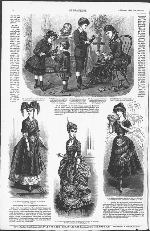 Childrens day dress (above) and children's fancy dress (below), 1883 the Netherlands, De Gracieuse From what I can tell, the fancy dress is (from left to right) Alsatian traditional dress (?), 18th century dress, Georgian traditional dress (that's what it says but I can't find any examples that look even vaguely like this).