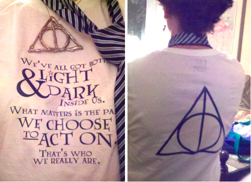 HP Deathly Hallows release t shirt: here is the shirt I made for the midnight showing last Thursday. You can find the downloadable layout for your own iron-on transfers on the click-through (or here). I borrowed inspiration for the Sirius Black quote from thereadables, and used the Lumos font from Mugglenet.com. It was simple, but perfect on short notice.   OK, I'll lay off the HP-related crafts soon and focus on more general/random stuff.