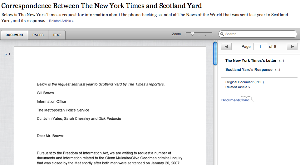Scotland Yard's correspondence with New York Times denying information requests regarding hacking scandal Follow latest updates on my News of the World, News Corp/International liveblog