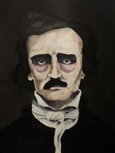 Edgar Allan Poe oil painting, very nearly finished. Once the background is sorted it won't be far off.