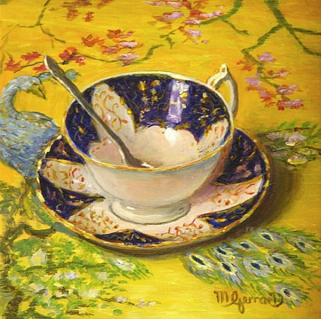 stilllifequickheart: 2011 Maimie Gerrard (Scottish, contemporary) ~ Teacup and Saucer on Peacock Silk