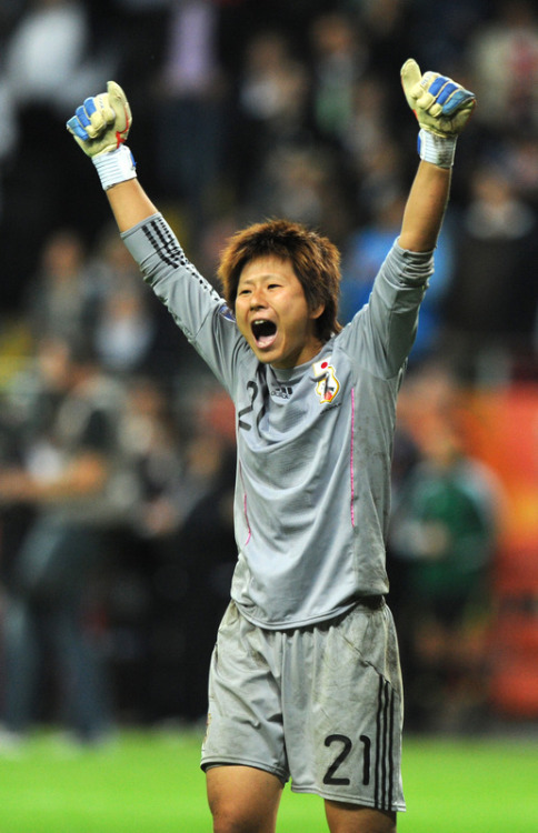 Japan's goalkeeper Ayumi Kaihori celebrates saving a penalty during the FIFA Women's Football World Cup final (via World Soccer - Photo Gallery - Yahoo! Sports) She put on one hell of a performance in this game, and the tournament. Well done, Japan.