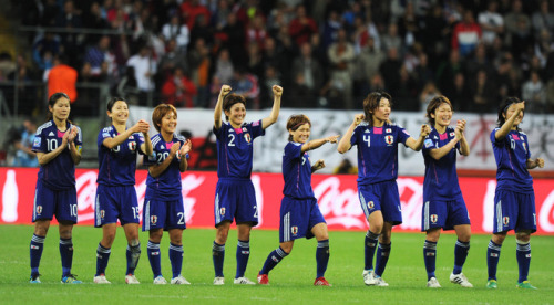 Japan's players celebrate scoring a penalty during the FIFA Women's Football World Cup final match Japan vs USA on July 17, 2011 in Frankfurt am Main, western Germany. AFP PHOTO / CHRISTOF STACHE (via World Soccer - Photo Gallery - Yahoo! Sports)