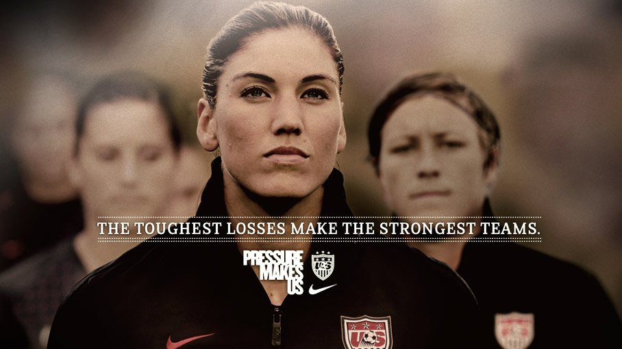 2fit-2quit:   The  Toughest Losses Make The Strongest Teams. Pressure Makes Us. An amazing  effort by the entire U.S. National Women's Team, and congrats to Japan  on their win.  (via NIKE WOMEN)