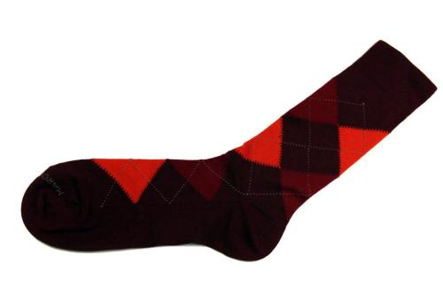 New Marcoliani argyle red Merino wool socks