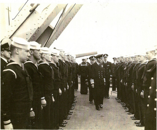 King George VI formal review of crew of U.S.S. Augusta on Flickr.My dad encounters King George VI the day before D-Day.