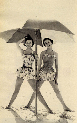 Swimsuit Sunday Continued! Umbrella time! Protect that fair vintage skin from the sun!