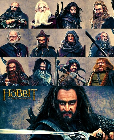 gingerhaze:shuraiya:nirnaetharnoediad:                    Dwarves of The Hobbit: Dwalin, Balin, Kili, Fili, Dori, Nori, Ori, Oin, Gloin, Bifur, Bofur, Bombur, and Thorin.  The publicity shots of Richard Armitage as Thorin are giving me the same feelings of disconcertion and cognitive dissonance that I got from seeing James McAvoy as Mr Tumnus in The Lion, The Witch, and the Wardobe. (Which is not to say that I don't approve. I do. It's just that I didn't quite expect the characters in my childhood books would look like that.) Related: the latest Hobbit video blog is possibly the most delightful and hilarious one yet. It also features the reappearance of several old friends from Lord of the Rings that had me bouncing with glee.
