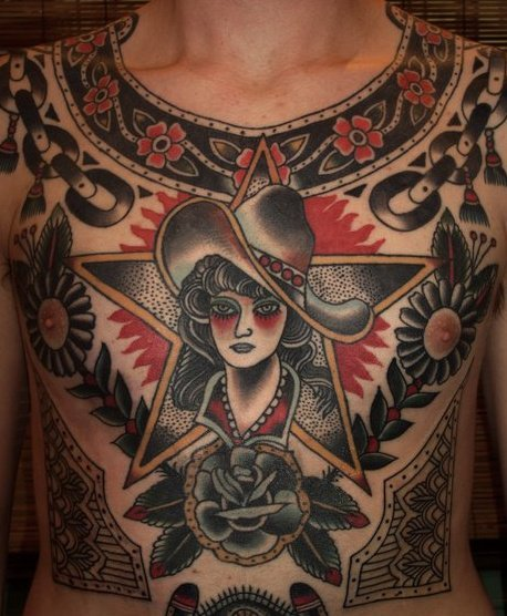 Traditional chest #tattoo by Stuart Cripwell