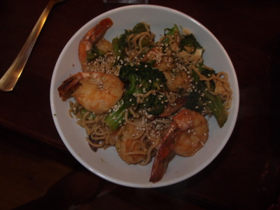 dukanfan:  Mother fuckin shrimp and broccoli stir fry with shiratake noodles! My friend told me about these amazing noodles: tofu shiratake.  They're made entirely of tofu so they're acceptable on Dukan.  Also, they taste like freakin pasta.  They are awesome.  I made a stir fry with shrimp, broccoli, and an egg. Marinate shrimp (or other protein) in soy sauce, grated ginger, and finely chopped garlic Cook broccoli and 1/3 cup onion with some water and a few drops of sesame oil until broccoli is soft Add shrimp with marinade and cook for about 5 minutes Rinse the noodles well to remove the fishy taste and dump into stir fry Optional: add 1 beaten egg and cook thoroughly with mixture What's great is you can use any veggie, any protein, and even do an Italian pasta dish.  So many options.  If you're on Dukan, pick up some shiratake noodles NOW!  I need to find these noodles ASAP!