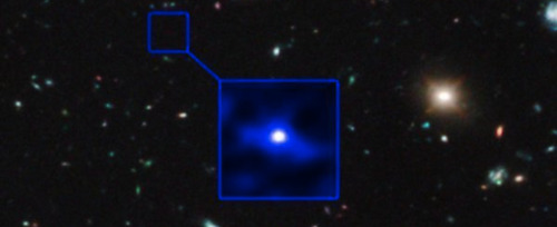 "The farthest known object from Earth is the galaxy UDFj-39546284 at 13.2 billion light years away.  From Earth it appears as it did ""only"" 480 million years after the Big Bang.  It is also the oldest known object in the universe. Depicted: An object so far away that we are only able to see it as it was about 10 billion years before the Earth was formed."