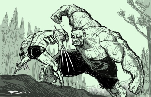 nerdtacular:  Logan and the Hulk by Bobby Rubio.  -