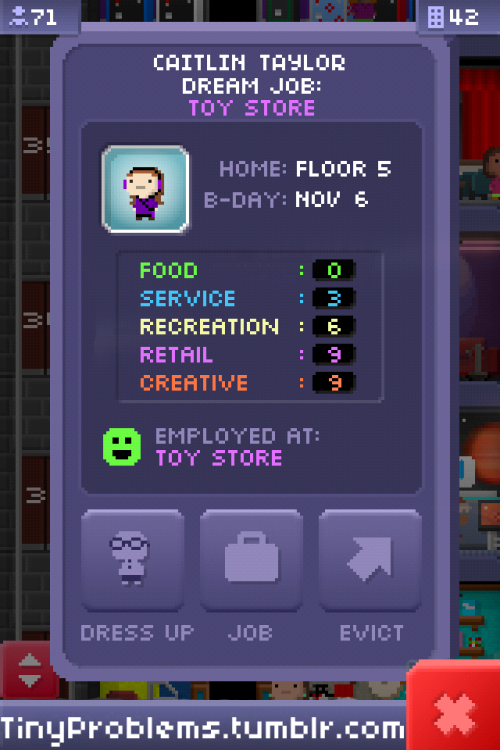 I made a Bitizen for myself!Overlayed the sprite on a screen shot of someone with the Dream Job I wanted my Bitizen to have. I changed the stats, name, and birthday. Don't ask me for the font because it came in some giant bundle thing I downloaded a while back. Photo clicks through to the tutorial. It's good and easy to follow for those of you who aren't very experienced. You need Photoshop, however.