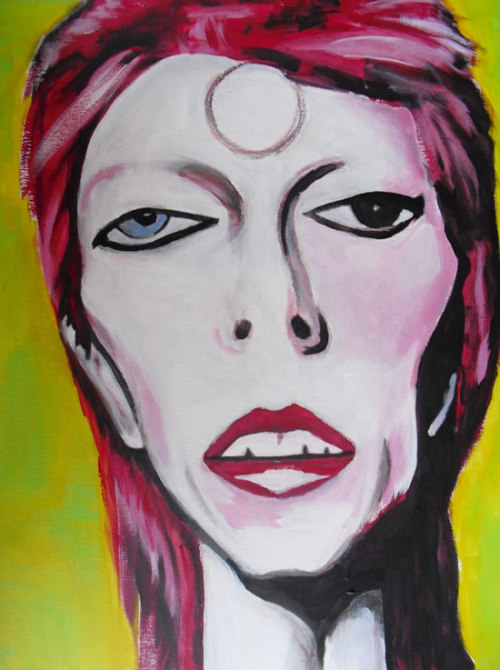 "This is a portrait of David Bowie painted by ""test-tube"" quarterback and famed NFL draft bust Todd Marinovich."