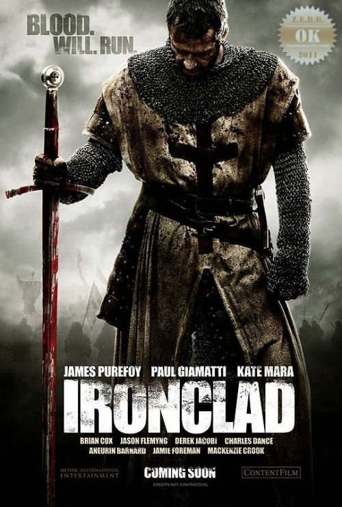 "Ironclad (2011) In 13th-century England, a small group of Knights Templar fight to defend Rochester Castle against the tyrannical King John. Ah… a medieval battle… I've seen some shit-storms in this genre… low and behold, my brother and i enjoyed this one, considering it obvious budget constrictions. A nice little tale with some familiar resonance. A land tormented by a traitor, and from that land comes an (indestructible) hero - with a heart… and principles. Alongside him is a group of skilled fellows and a mission they may not return from. Cut that fucker in half! Holy shit i couldn't resist laughing, this had some brutal and intense fight scenes. Bring on the gore! What they lack in ""grandness"" they make up in the (well choreographed) fight scenes. Small budget with some prosthetic special effect payback, i was definitely impressed. The history? I really didn't care if it was accurate or not. Though i did get in a scrap (with my bro) about this being a Hood tale. ""C'mon his name is King John! and he's an asshole- this is fucking Robin Hood"". Paul Giamatti is the King! I wasn't too keen on the casting here, though it was appreciated. Jason Flemyng brings a familiar face to the rude crude badass dudes aka Merry men. And Kate Mara… oh boy… the only chick in the film, and she ain't a babe. This is a guy flick. The romance moments sucked so fucking much. Temptation to fast-forward these parts is impossible to resist. Do it… you won't regret it as much as watching this sappy so-called love story. Bring on the steel and blood. This was a great platform for James Purefoy, he is capable of holding a ragtag group together. I thought he was a modern Christopher Lambert… must've been the sword, grime and intensely sad eyes. It's a typical action adventure. This was better than some (It was a little too much at times, which was forgivable considering the budget). You might be surprised one lazy Sunday afternoon. This isn't something you'd go out of your way to grab. But when ya do get the chance to catch it, it ain't so bad."