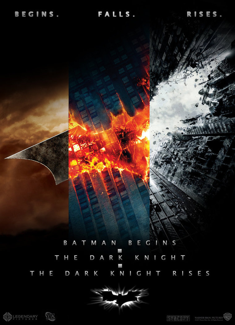 aninventoryofthepossible:  The three Nolan Batman posters combined, by @davechensky.