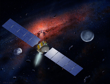 NASA Spacecraft enters orbit around an asteroid.   NASA's Dawn spacecraft on Saturday became the first probe ever to enter orbit around an object in the main asteroid belt between Mars and Jupiter. Dawn, which launched in September 2007, is on track to become the first spacecraft to orbit two solar system destinations beyond Earth. Dawn will study the asteroid, named Vesta, for a year before departing for a second destination, a dwarf planet named Ceres, in July 2012. Observations will provide unprecedented data to help scientists understand the earliest chapter of our solar system. The data also will help pave the way for future human space missions.