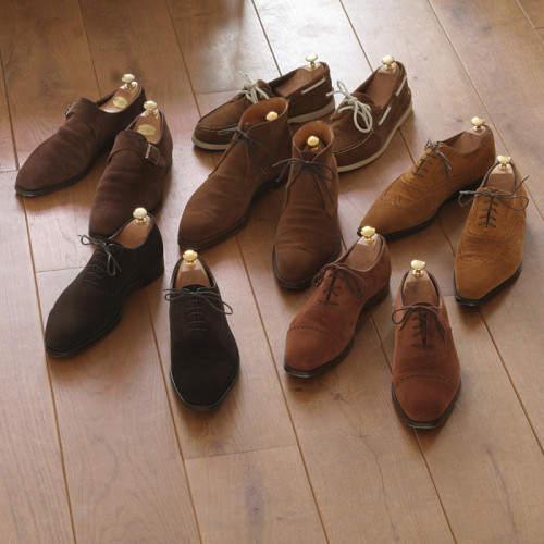 Brown Suede Shoes for Autumn While I think brown suede shoes are great for every season (perhaps except winter), they're particularly fitting for autumn. The soft, warm looking texture fits in well with the season's mood and looks great against the brown corduroys, gray flannel trousers, and olive moleskins that should be in your standard Fall rotation.  If you don't already have a pair, consider getting something nice for this Fall. If you can afford to splurge, I recommend Crockett & Jones' Belgrave in polo brown calf suede. It's a pretty expensive shoe, but I think one of the most handsome ones you can buy. For something more affordable,  check out this Charles Tyrwhitt suede chukka (which is on sale right now), Loake's suede Eton loafer, and Rancourt's suede camp mocs. For something a bit cheaper than those, there's Florsheim's Haviland longwing. I'm not that crazy about Florsheim, but they're one of the cheapest Goodyear welted shoes on the market. Use the code NewFW11 at checkout and you'll get 10% off as well as free shipping (thanks to The Silentist for the tip).  Lastly, it's not released yet, but the guys at Run of the Mill are coming out with a suede double monkstrap on a Danite sole. The price will be around $450 and it should be released in a month or so.  (photo credit: NOBD from StyleForum)