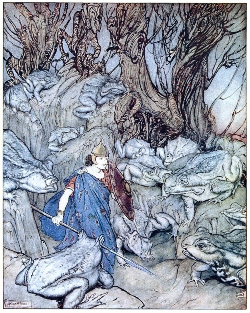 oldbookillustrations: 1920 Arthur Rackham (English 1867-1939) ~ Frontispiece for James Stephen's Irish Fairy Tales. Source: archive.org In a fork glen into which he slipped at night-fall, he was surrounded by giant toads.